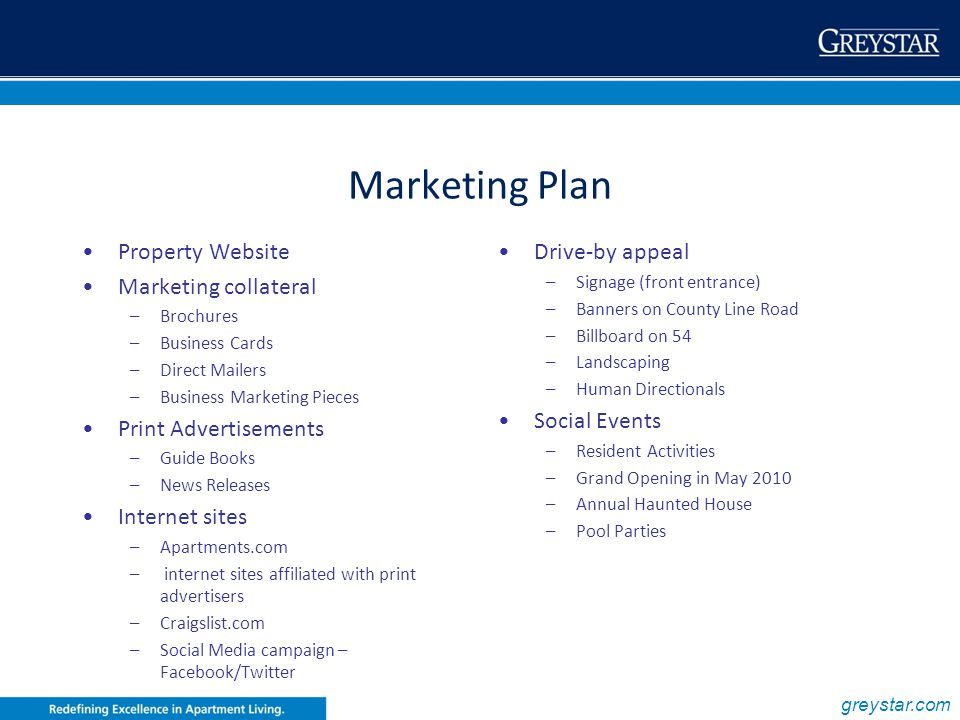 Marketing Plan Property Website Marketing collateral