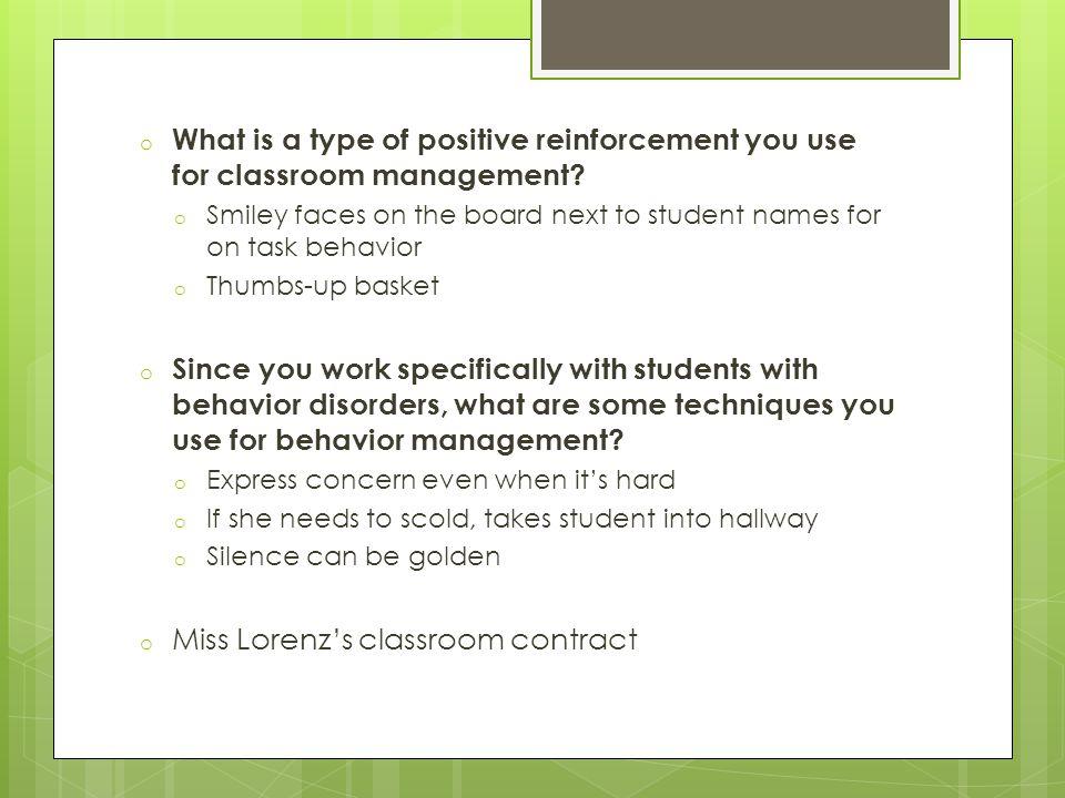 Miss Lorenz's classroom contract