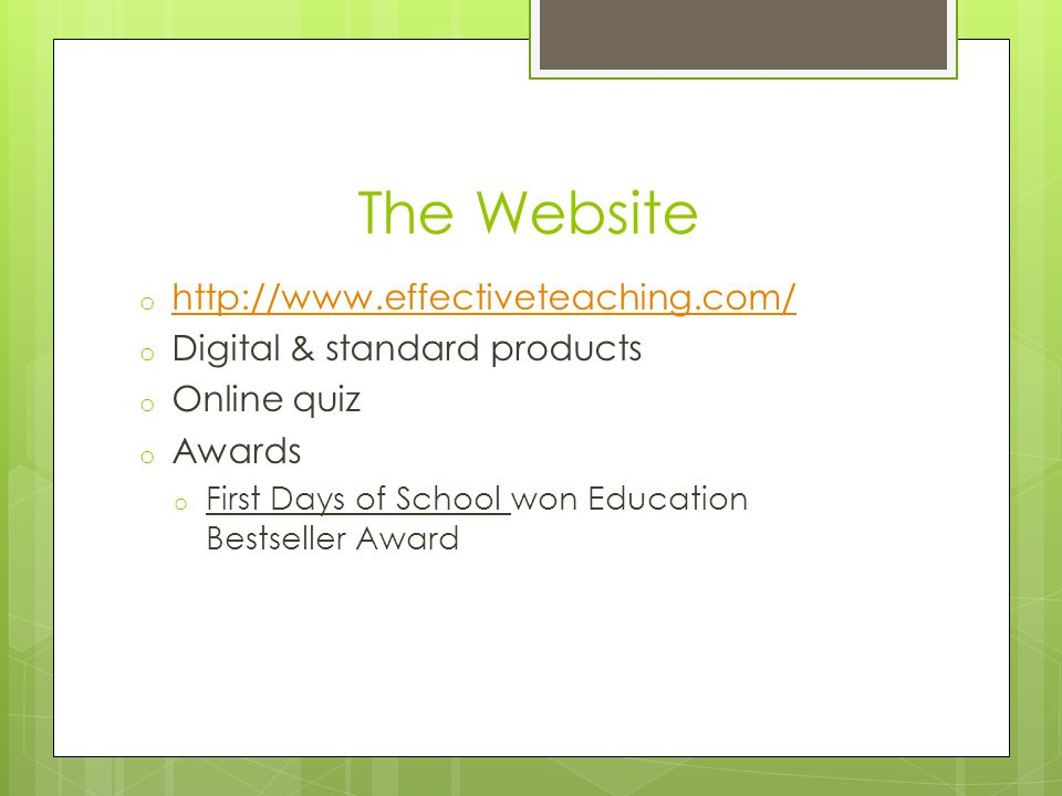 The Website http://www.effectiveteaching.com/