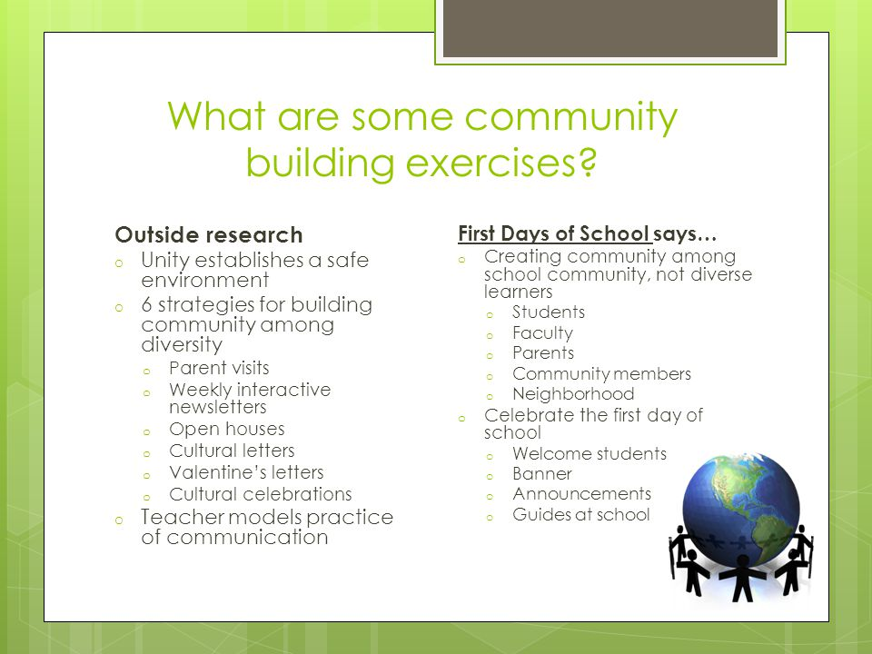 What are some community building exercises