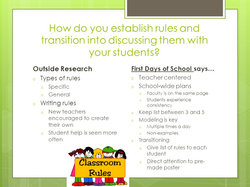 how to establish rules with learners Discussion guidelines are established to facilitate discussion they ensure  use  the students' suggestions to draft a set of ground rules on which you all agree.