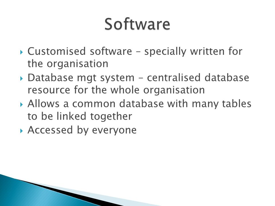 Software Customised software – specially written for the organisation