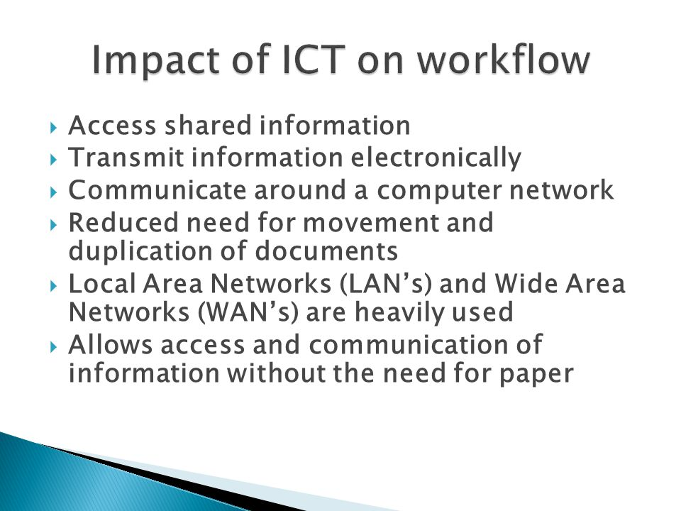 Impact of ICT on workflow