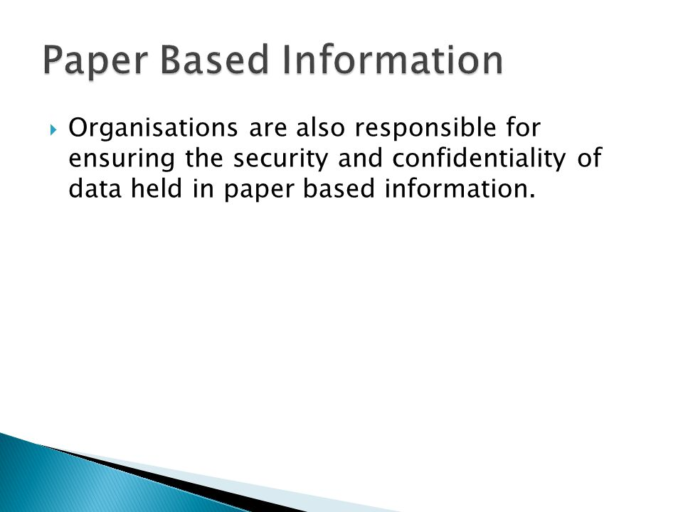 Paper Based Information