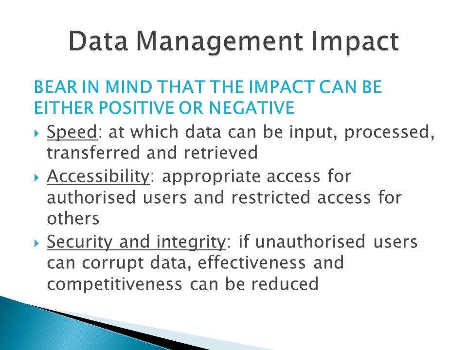 Data Management Impact