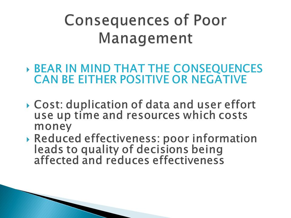 Consequences of Poor Management