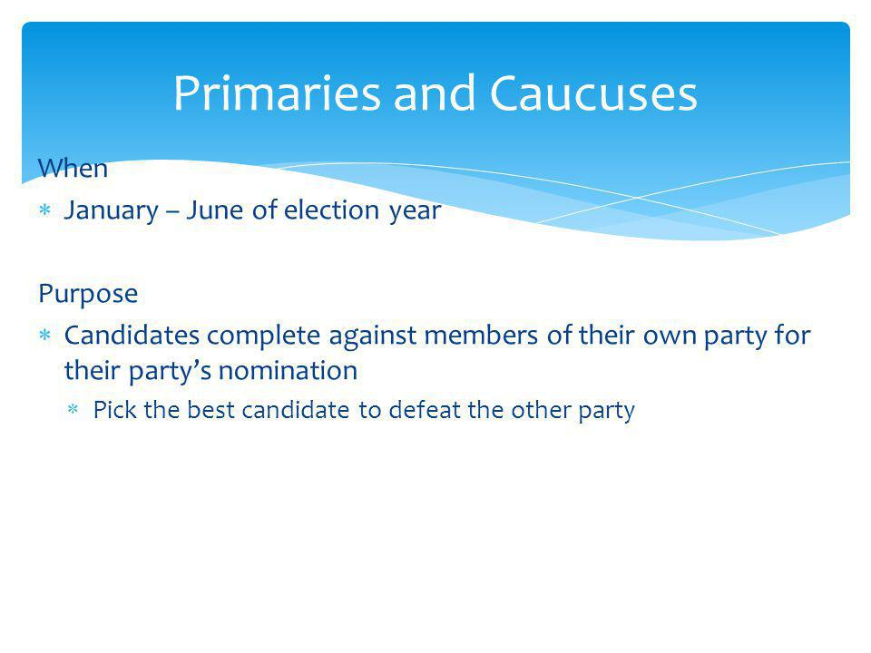 Primaries and Caucuses