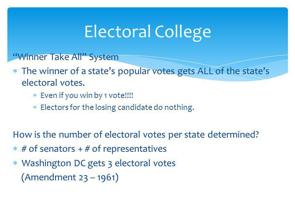 Electoral College Winner Take All System
