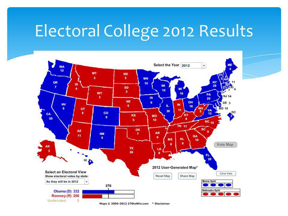 Electoral College 2012 Results