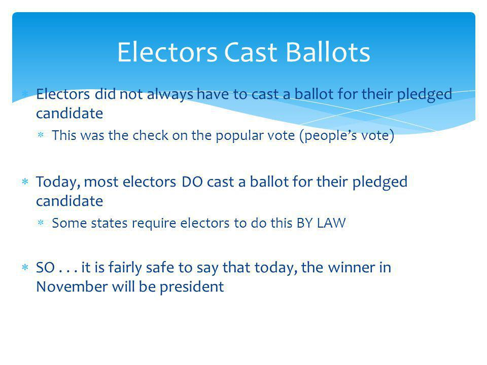 Electors Cast Ballots Electors did not always have to cast a ballot for their pledged candidate.