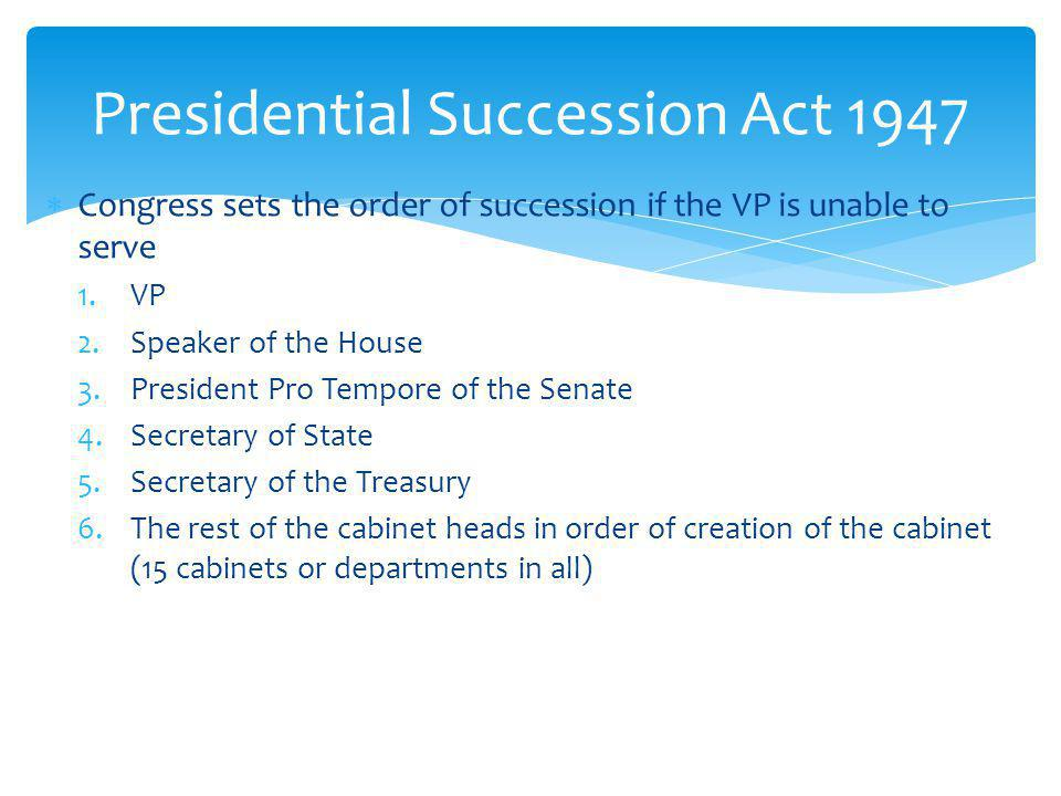 Presidential Succession Act 1947