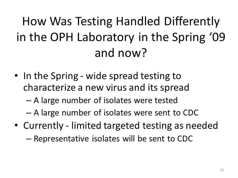 How Was Testing Handled Differently in the OPH Laboratory in the Spring '09 and now