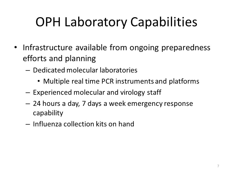 OPH Laboratory Capabilities