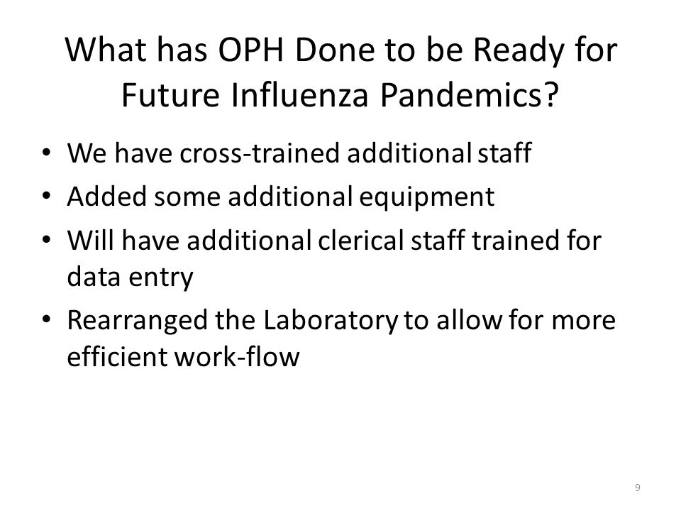 What has OPH Done to be Ready for Future Influenza Pandemics