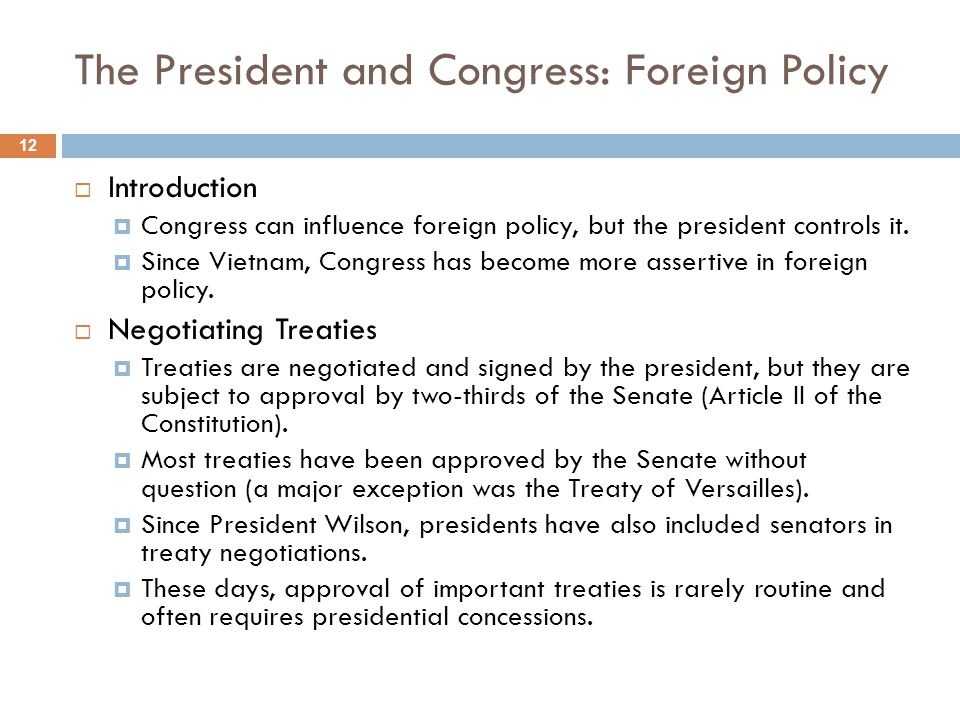 The President and Congress: Foreign Policy