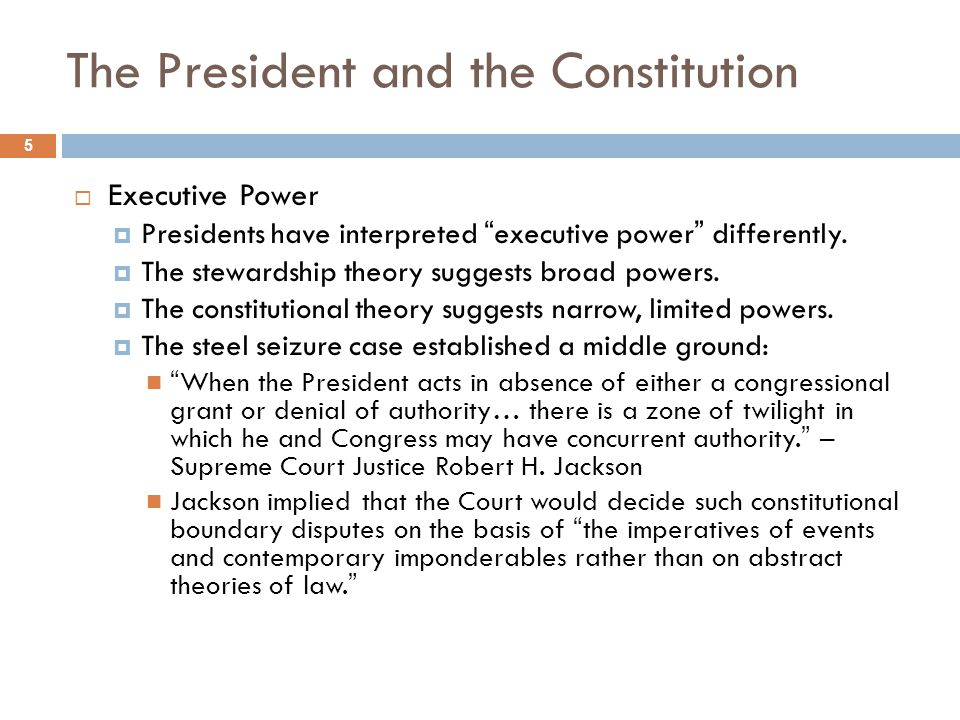 The President and the Constitution