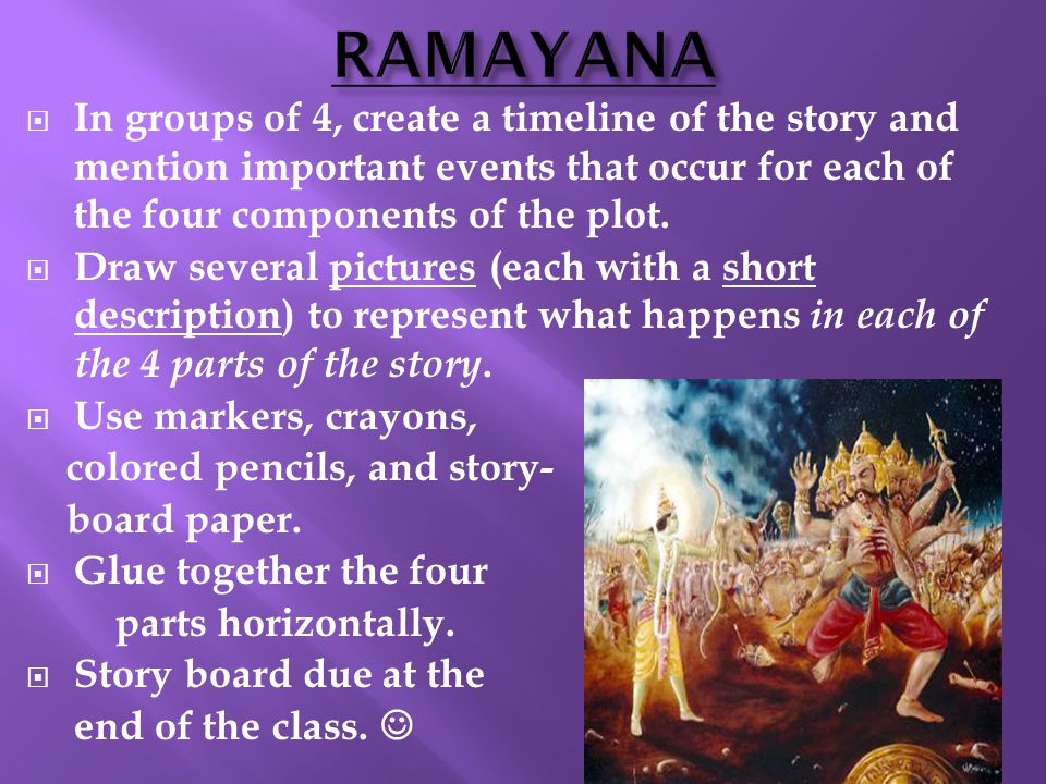 RAMAYANA In groups of 4, create a timeline of the story and mention important events that occur for each of the four components of the plot.