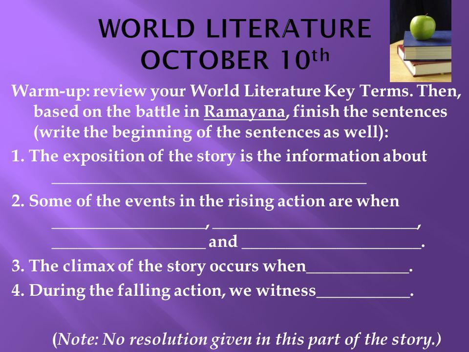 WORLD LITERATURE OCTOBER 10th