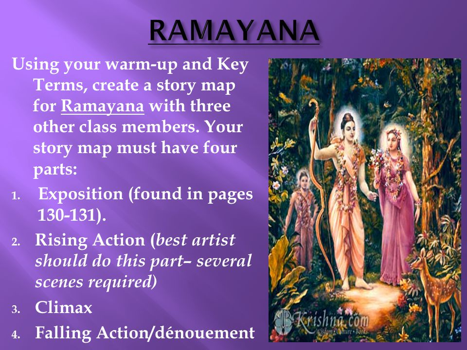 RAMAYANA Using your warm-up and Key Terms, create a story map for Ramayana with three other class members. Your story map must have four parts: