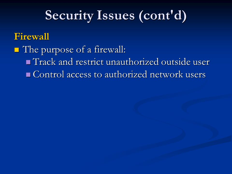 Security Issues (cont d)