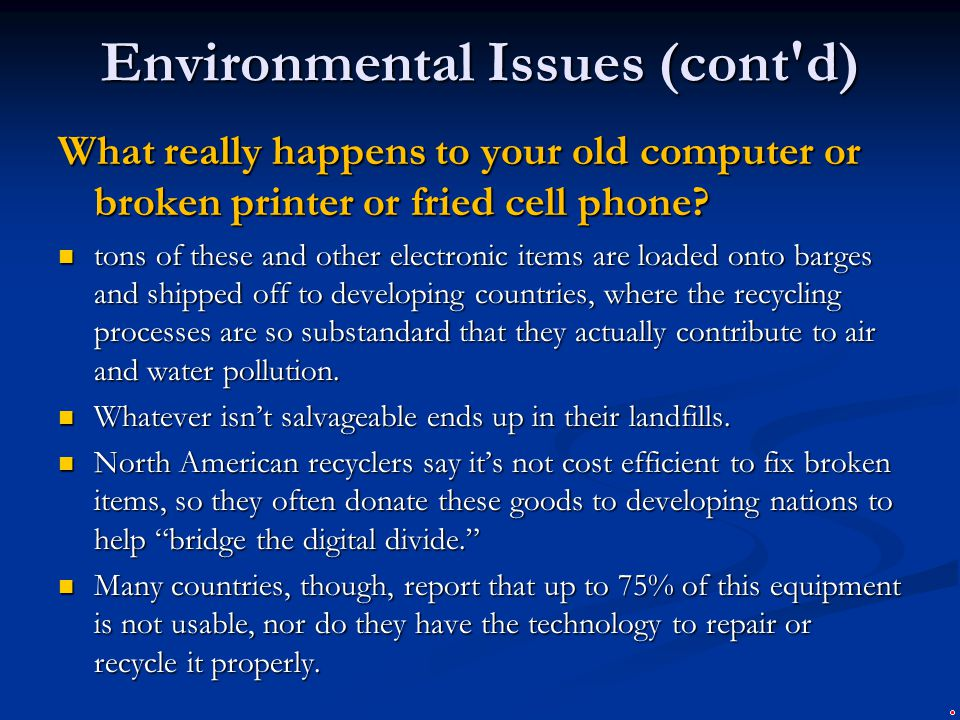 Environmental Issues (cont d)