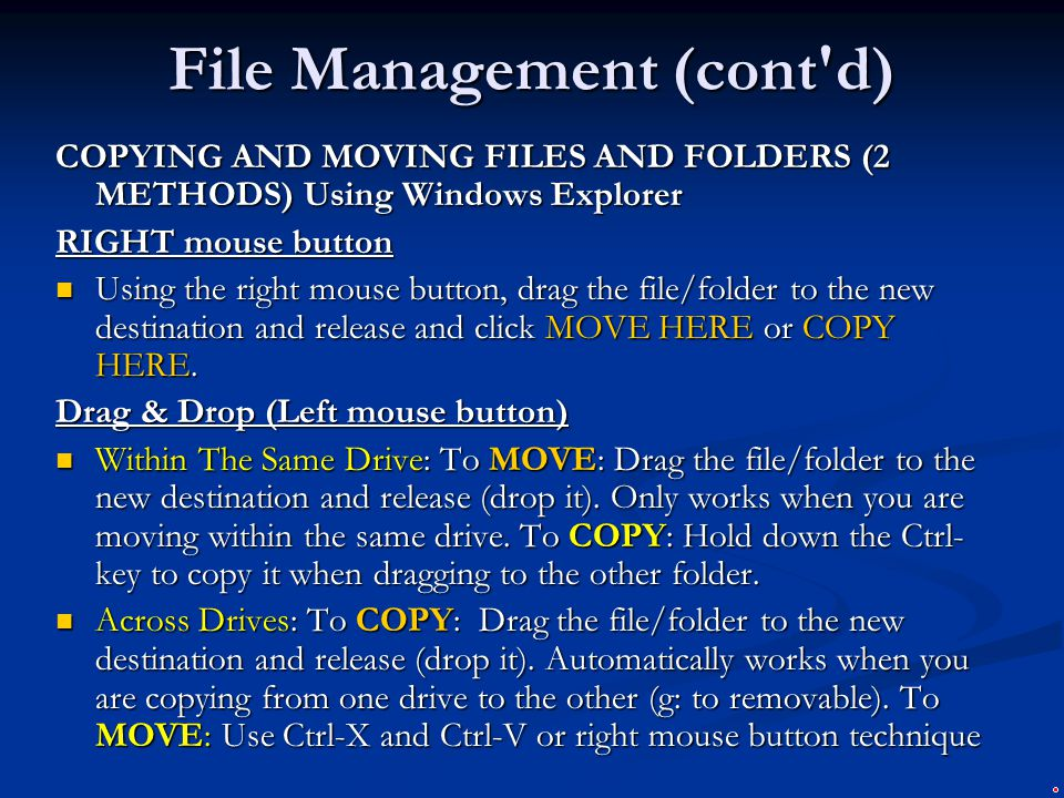 File Management (cont d)