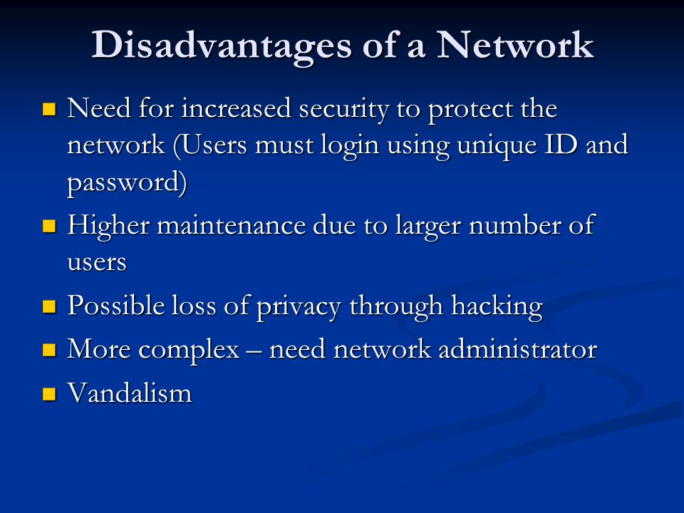 Disadvantages of a Network