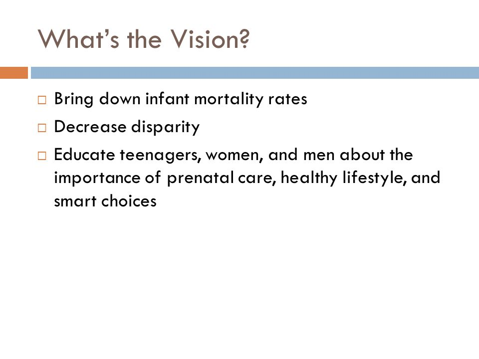 What's the Vision Bring down infant mortality rates