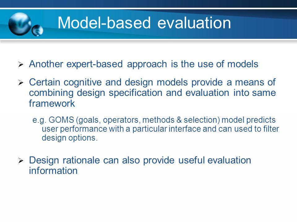 Model-based evaluation