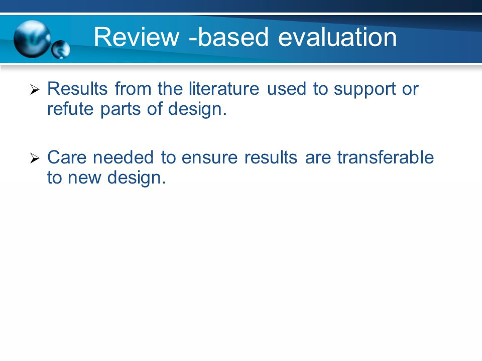 Review -based evaluation