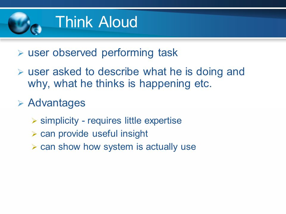 Think Aloud user observed performing task