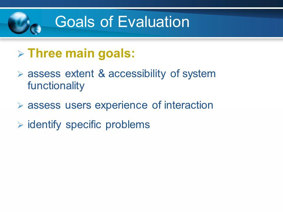 Goals of Evaluation Three main goals: