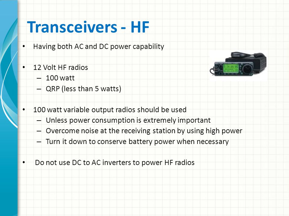Transceivers - HF Having both AC and DC power capability