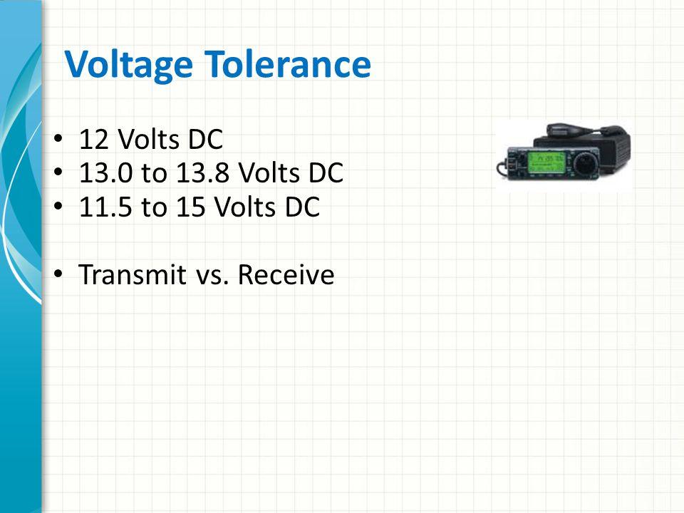 Voltage Tolerance 12 Volts DC 13.0 to 13.8 Volts DC