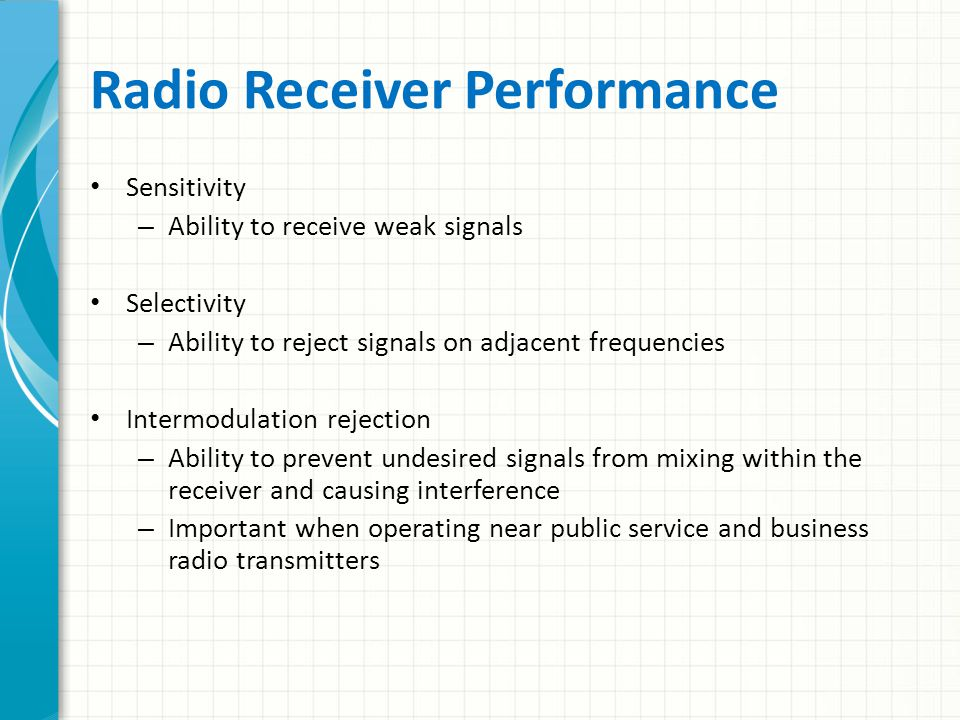 Radio Receiver Performance