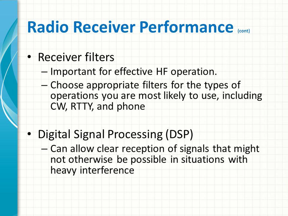 Radio Receiver Performance (cont)