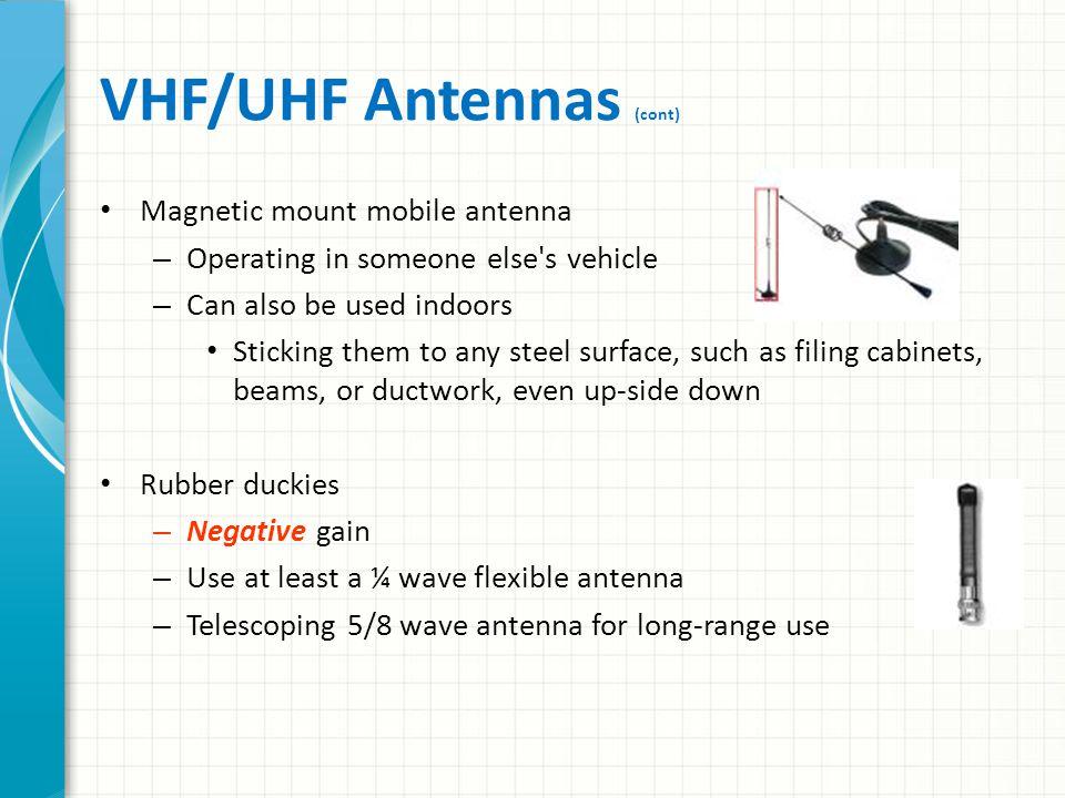 VHF/UHF Antennas (cont)