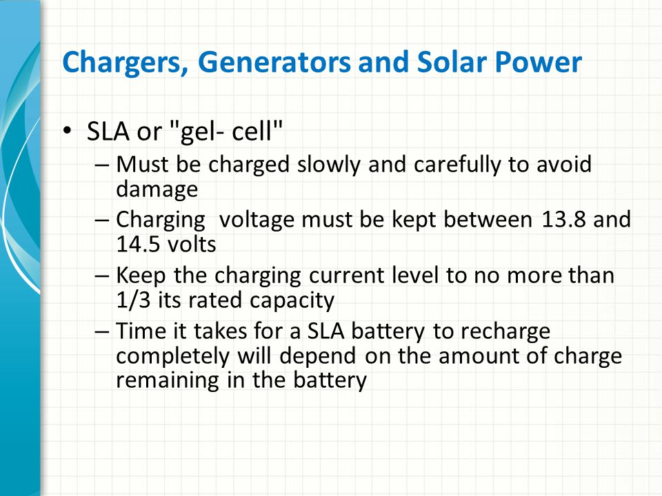 Chargers, Generators and Solar Power