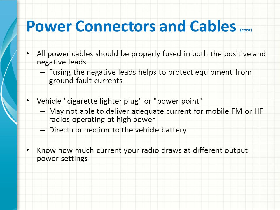 Power Connectors and Cables (cont)