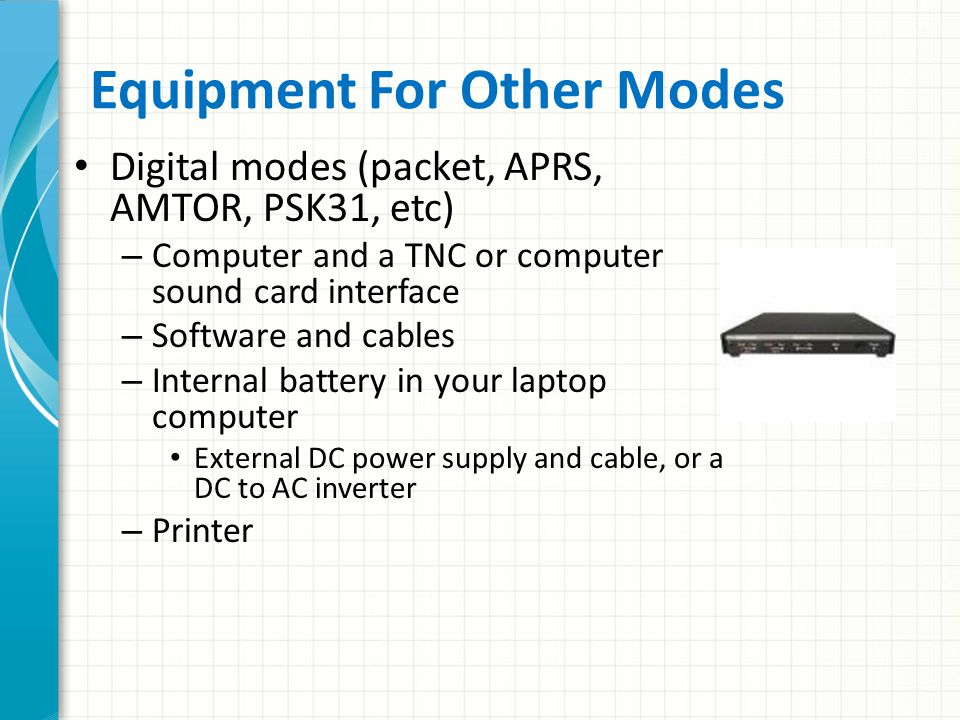 Equipment For Other Modes
