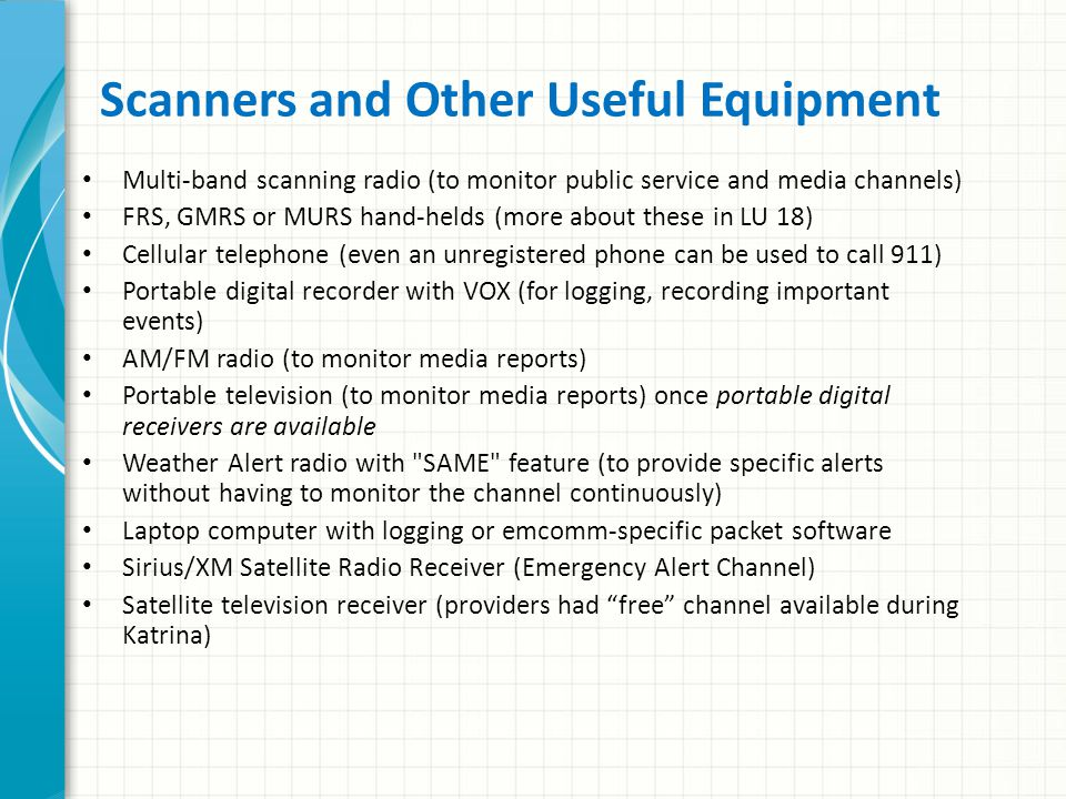 Scanners and Other Useful Equipment