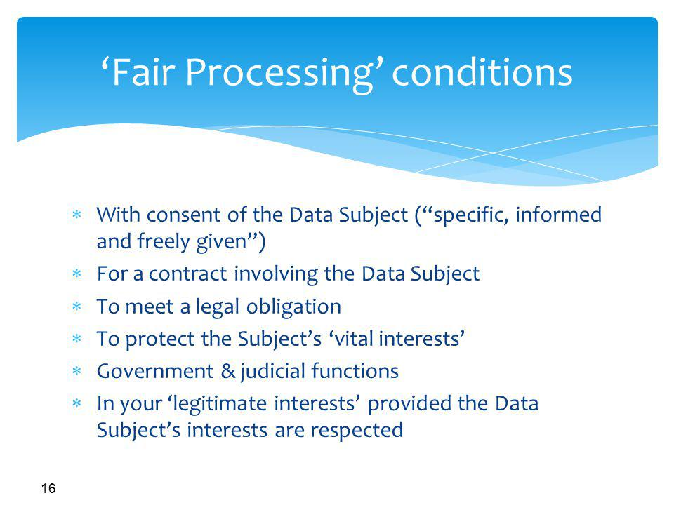 'Fair Processing' conditions