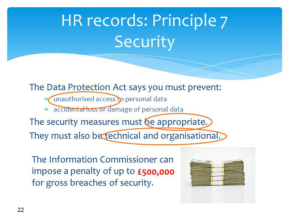 HR records: Principle 7 Security