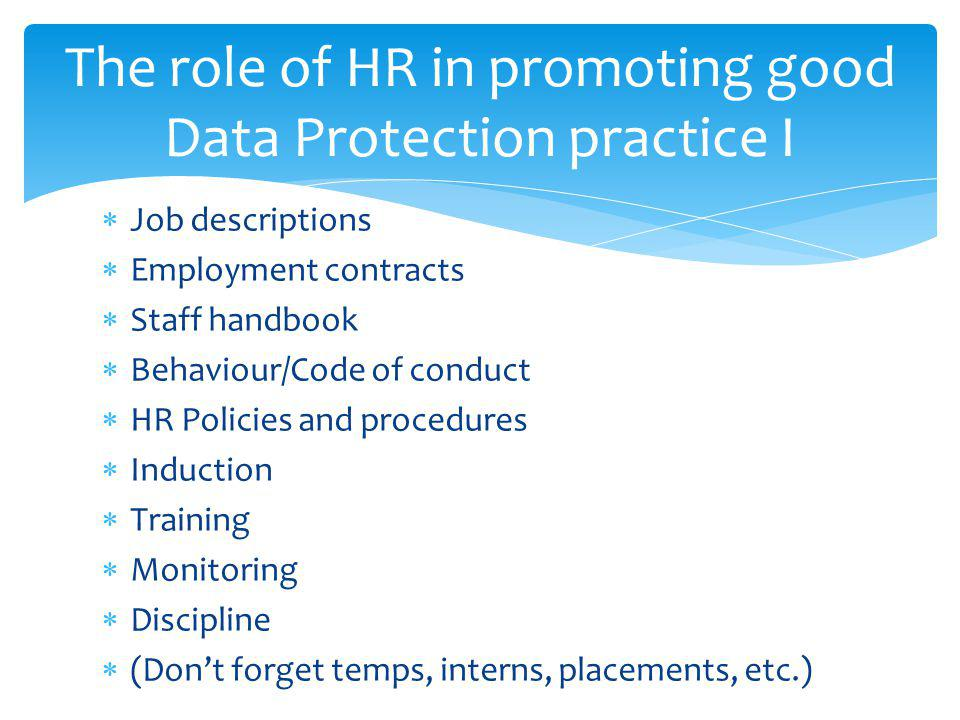 The role of HR in promoting good Data Protection practice I