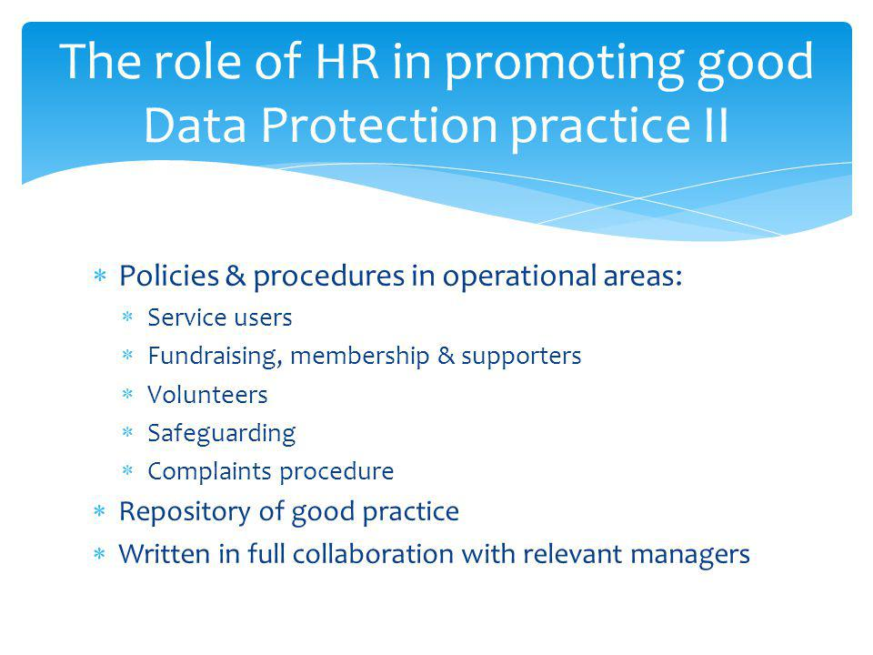 The role of HR in promoting good Data Protection practice II