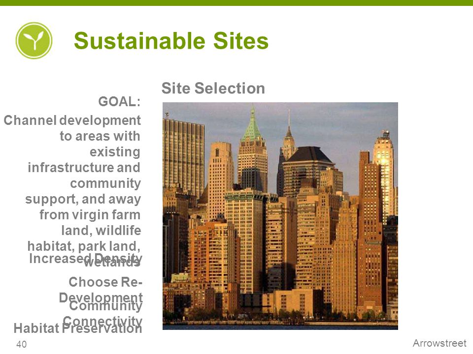Sustainable Sites Site Selection GOAL: