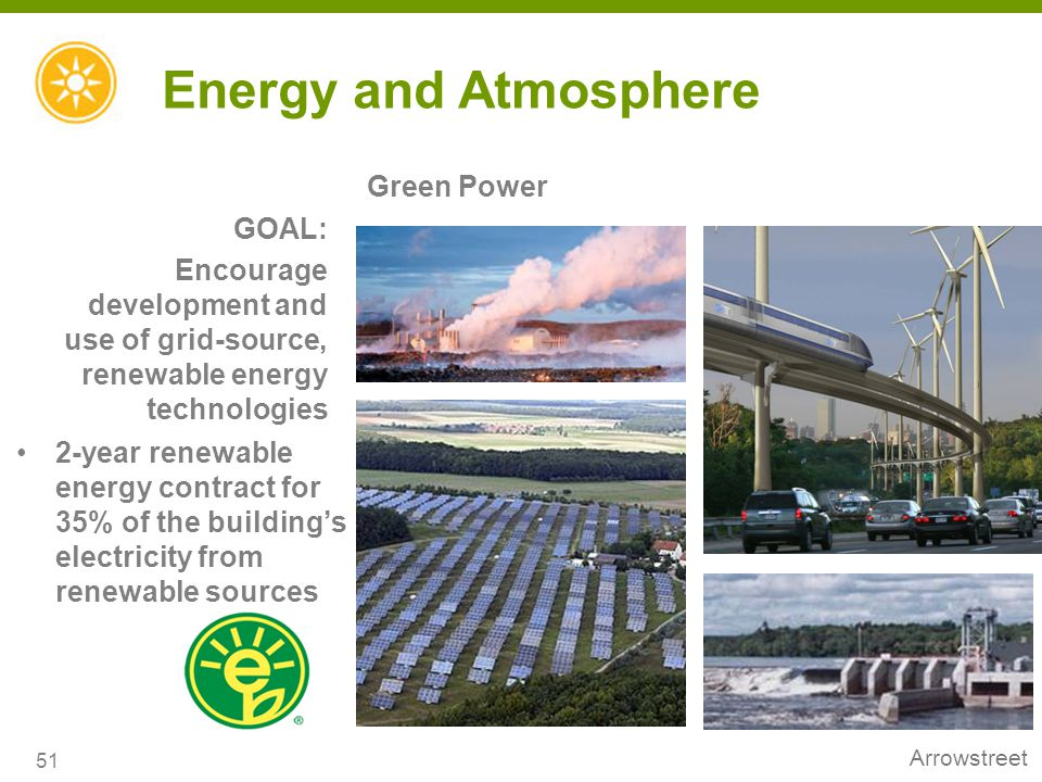 Energy and Atmosphere Green Power GOAL: