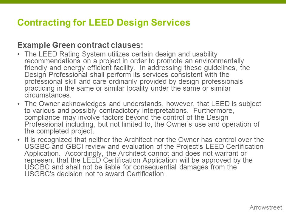 Contracting for LEED Design Services