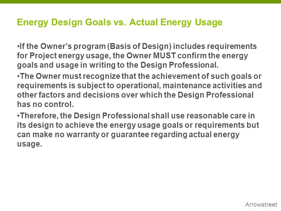 Energy Design Goals vs. Actual Energy Usage