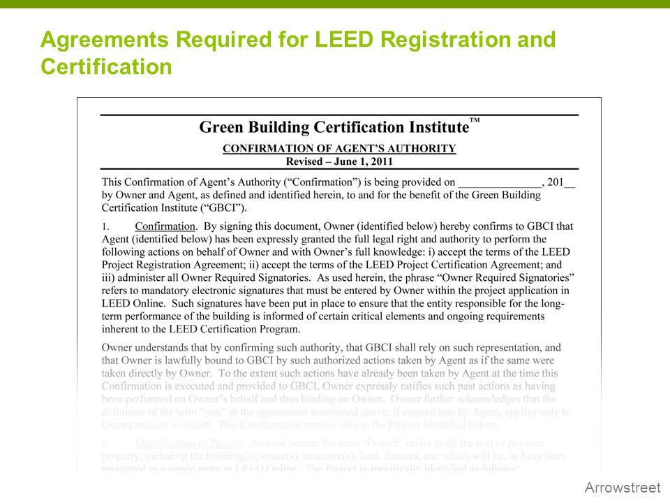 Agreements Required for LEED Registration and Certification
